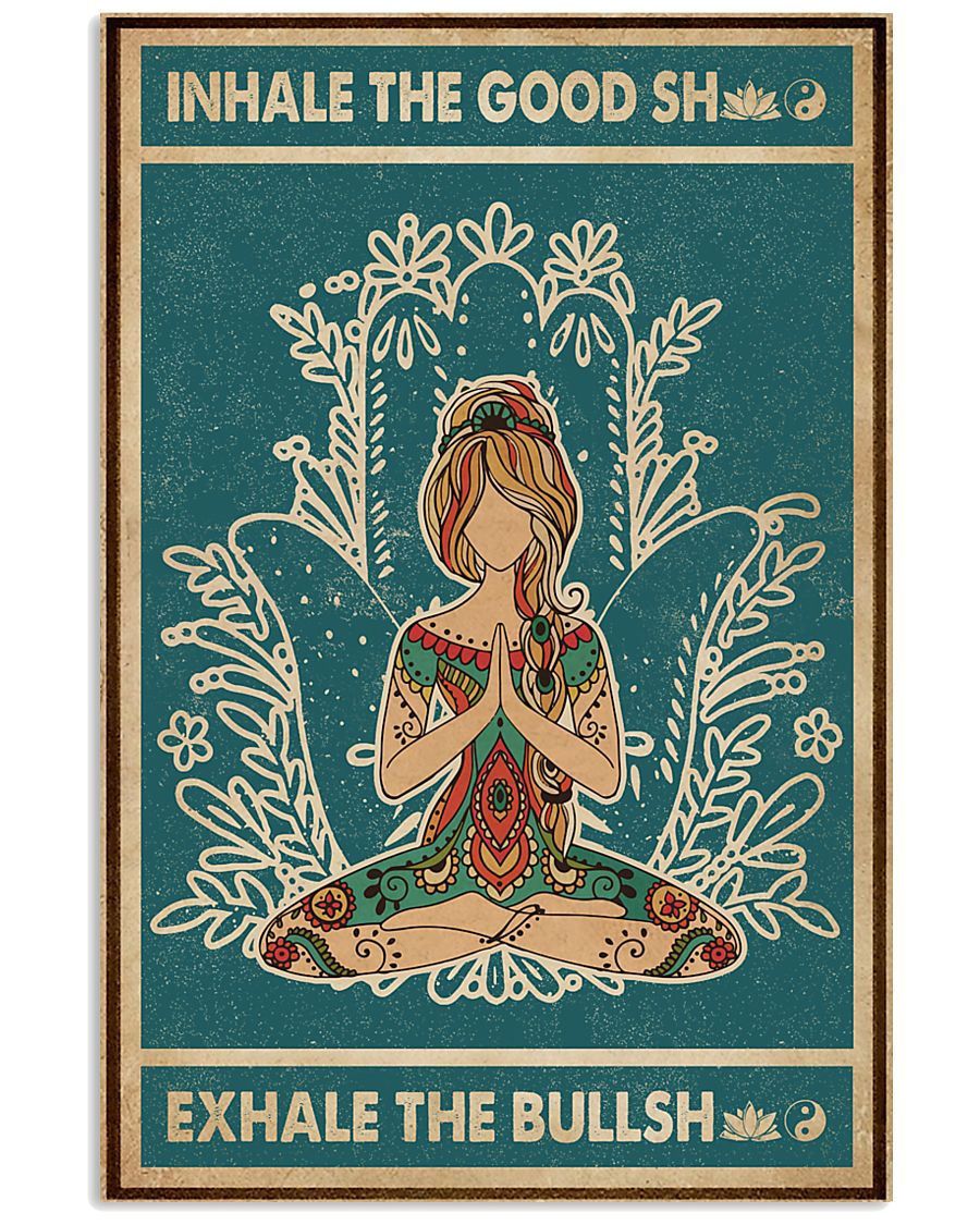 Retro Green Inhale The Good Yoga Girl 11x17 Poster