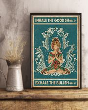 Retro Green Inhale The Good Yoga Girl 11x17 Poster lifestyle-poster-3