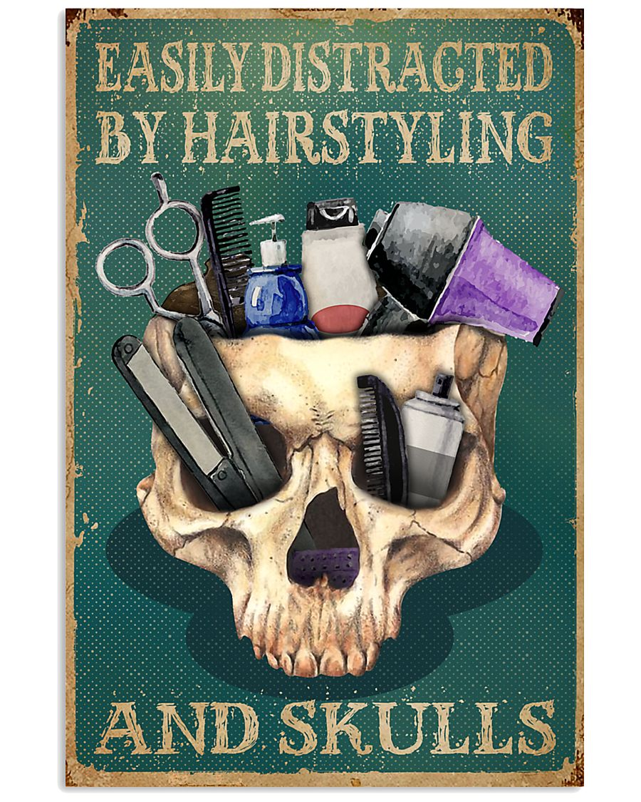 Retro Easily Distracted By Hairstylist And Skulls 16x24 Poster