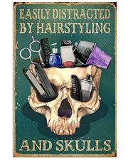 Retro Easily Distracted By Hairstylist And Skulls 16x24 Poster front