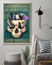 Retro Easily Distracted By Hairstylist And Skulls 16x24 Poster lifestyle-poster-1