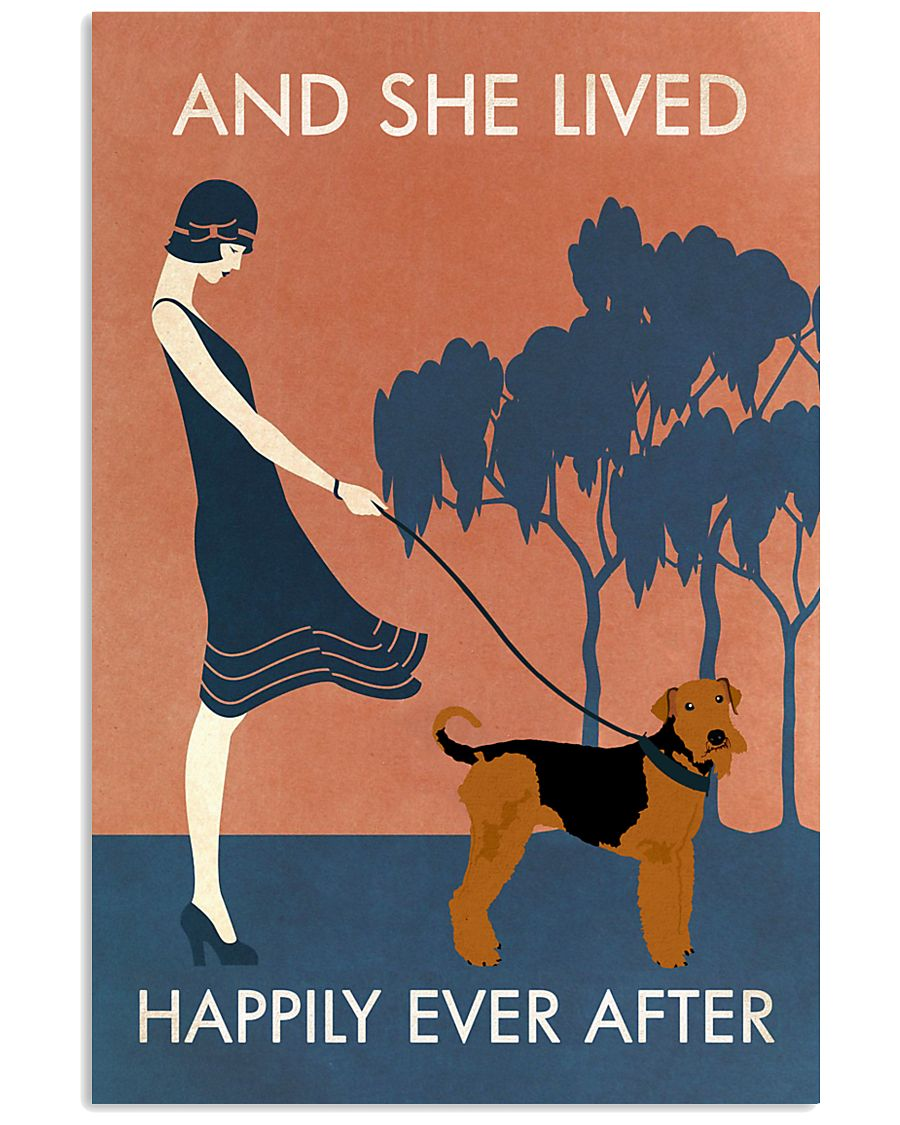 Vintage Girl Lived Happily Airedale Terrier 11x17 Poster