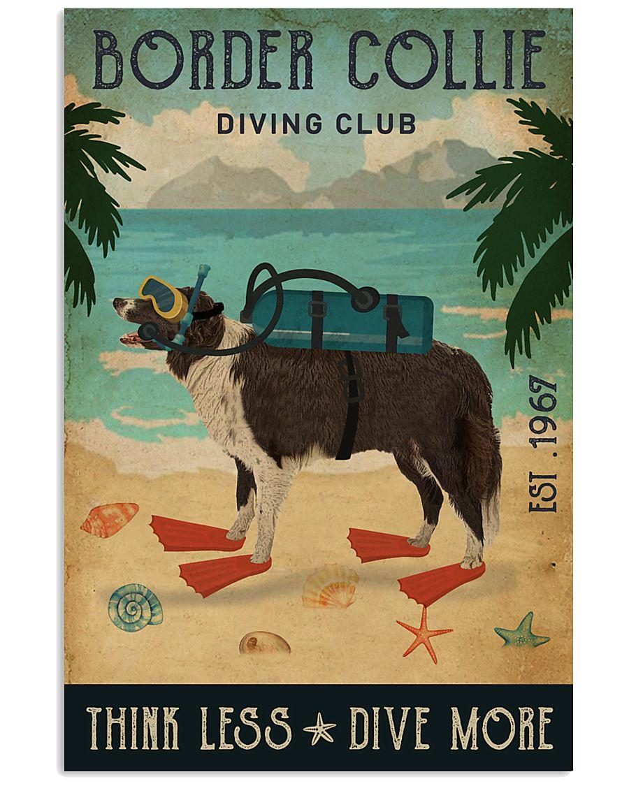 Vintage Diving Club Border Collie 11x17 Poster