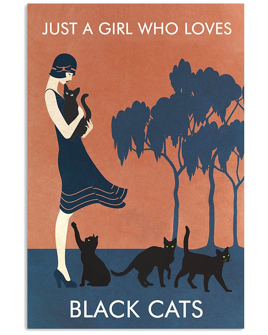 Vintage Girl Who Loves Black Cat 11x17 Poster