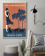 Vintage Girl Who Loves Black Cat 11x17 Poster lifestyle-poster-1