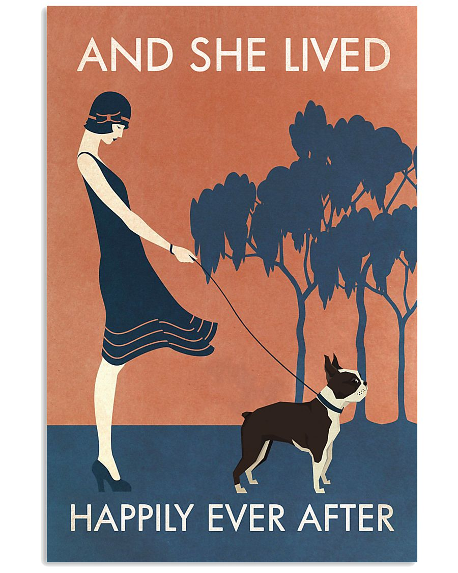 Vintage Girl She Lived Happily Boston Terrier 11x17 Poster