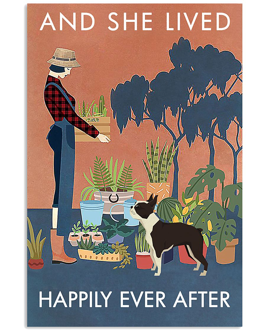 Vintage She Lived Happily Gardening Boston Terrier 16x24 Poster