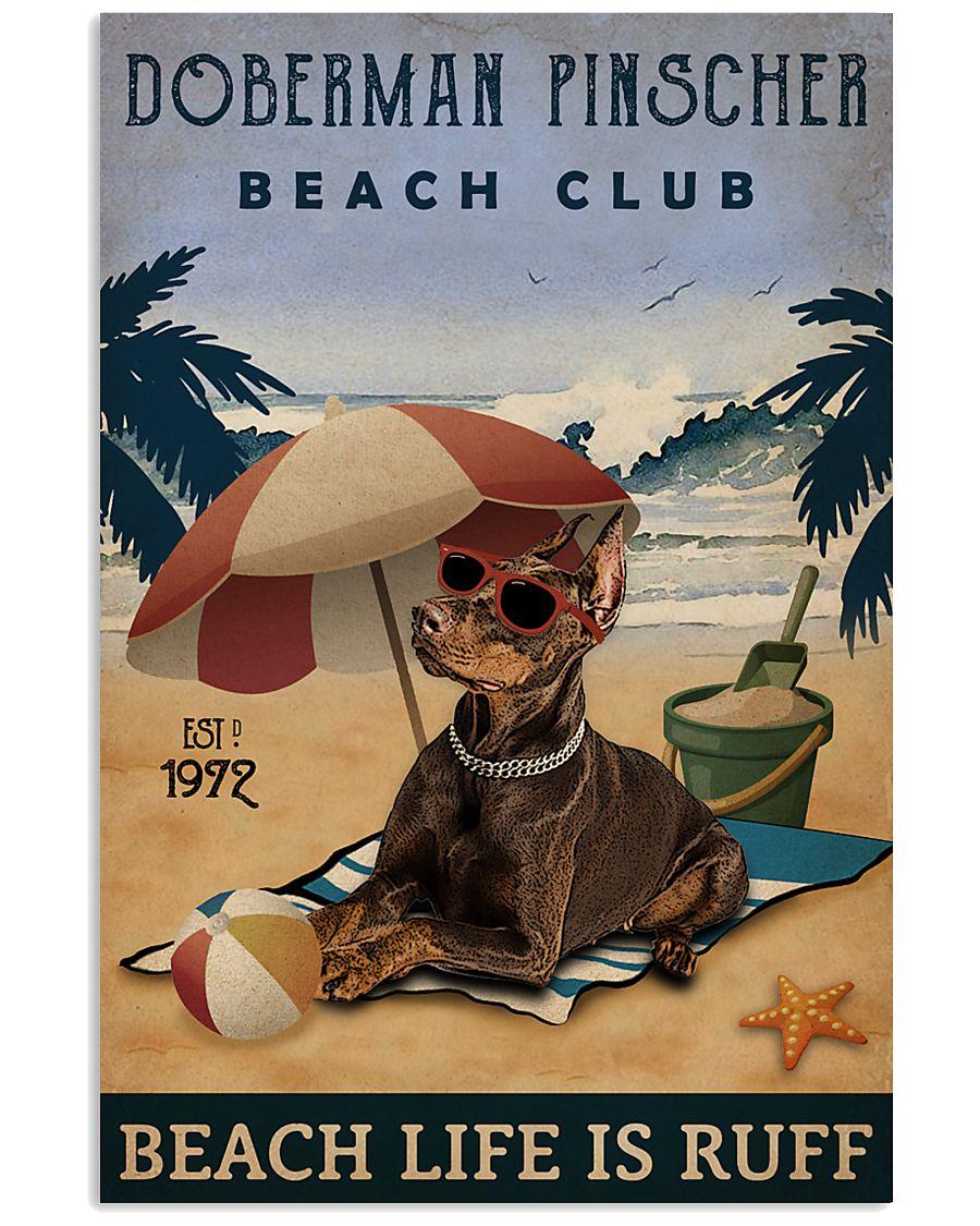 Vintage Beach Club Is Ruff Doberman Pinscher 11x17 Poster