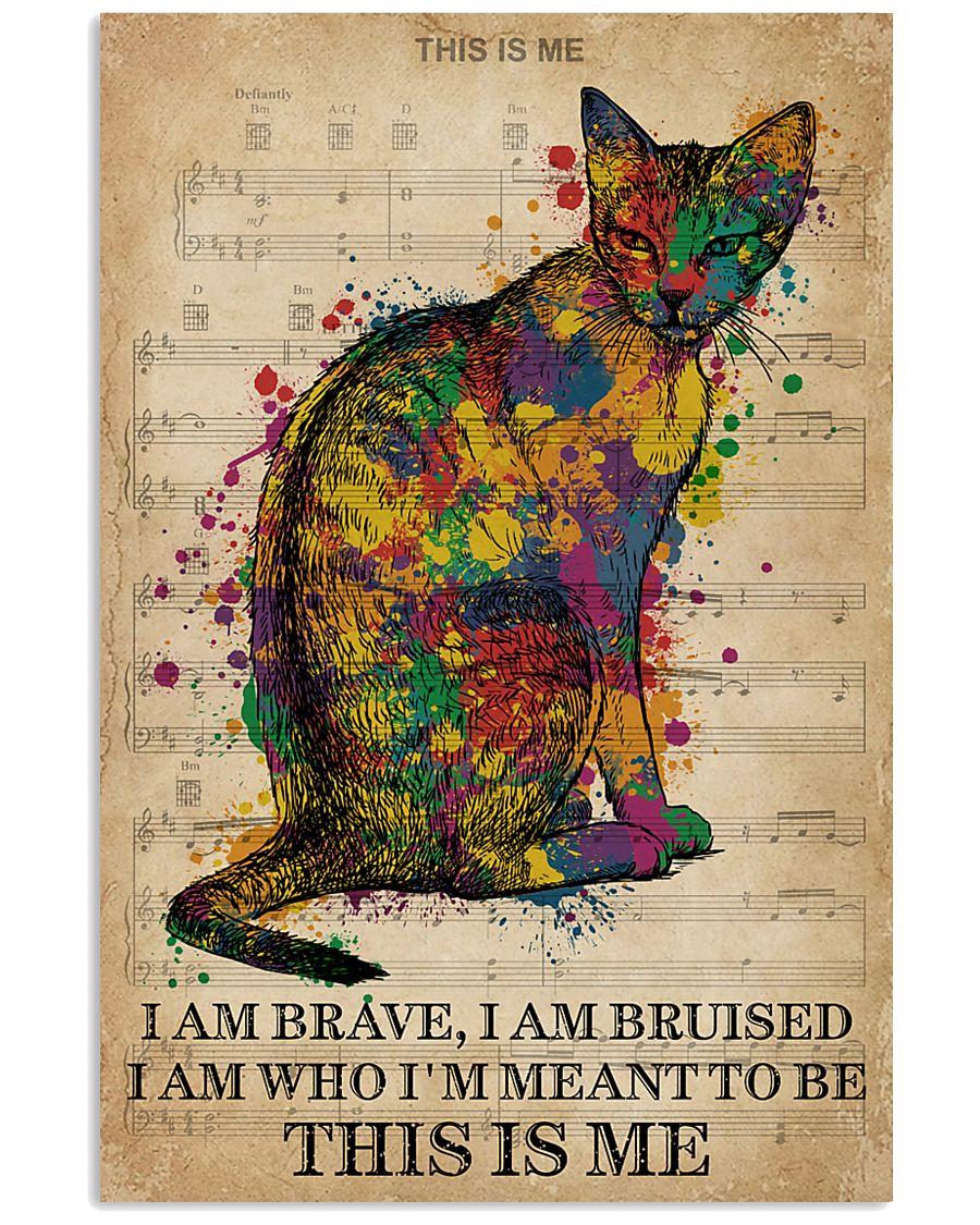 Vintage Music I Am Brave Pride Cat  11x17 Poster