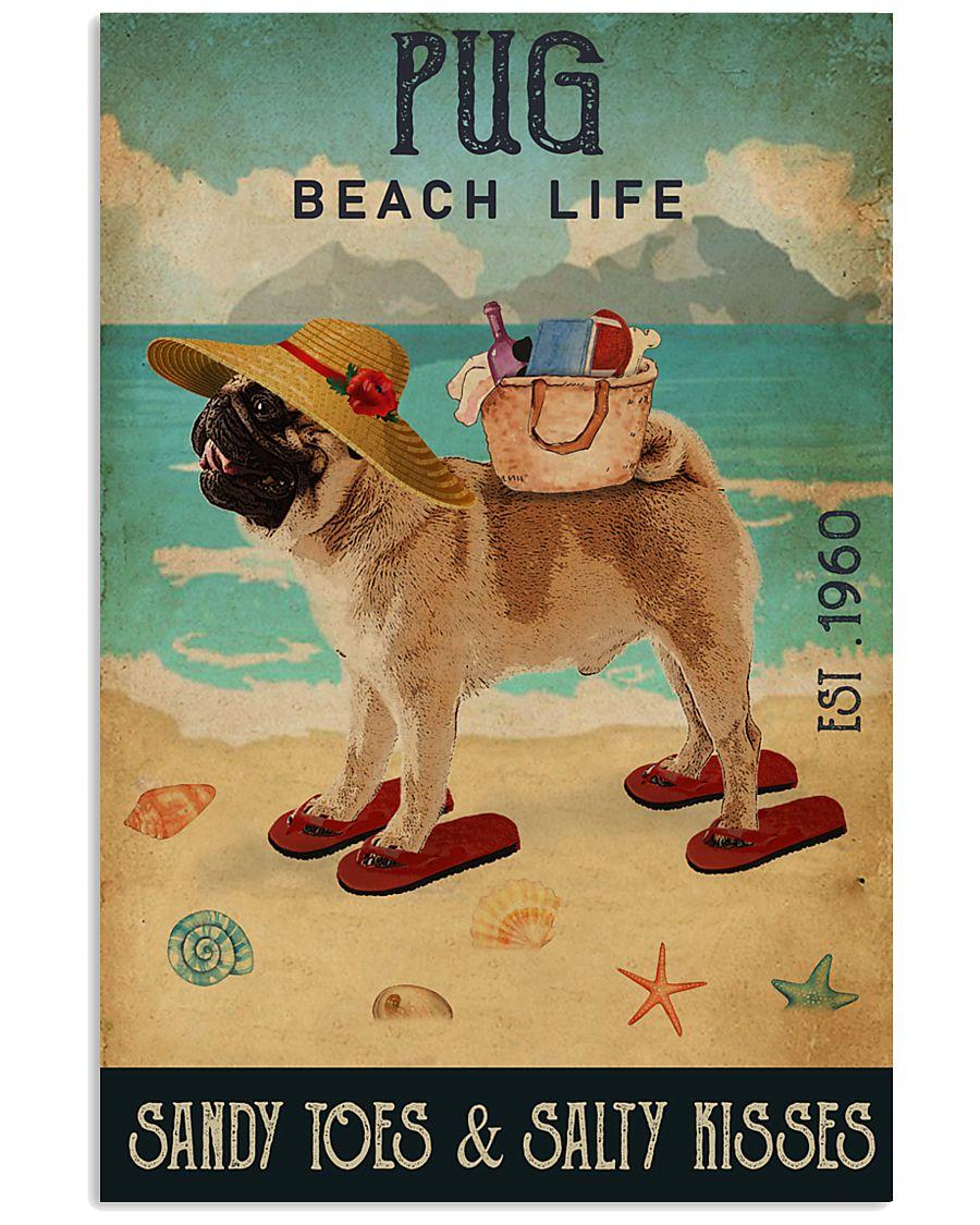 Beach Life Sandy Toes Pug 11x17 Poster