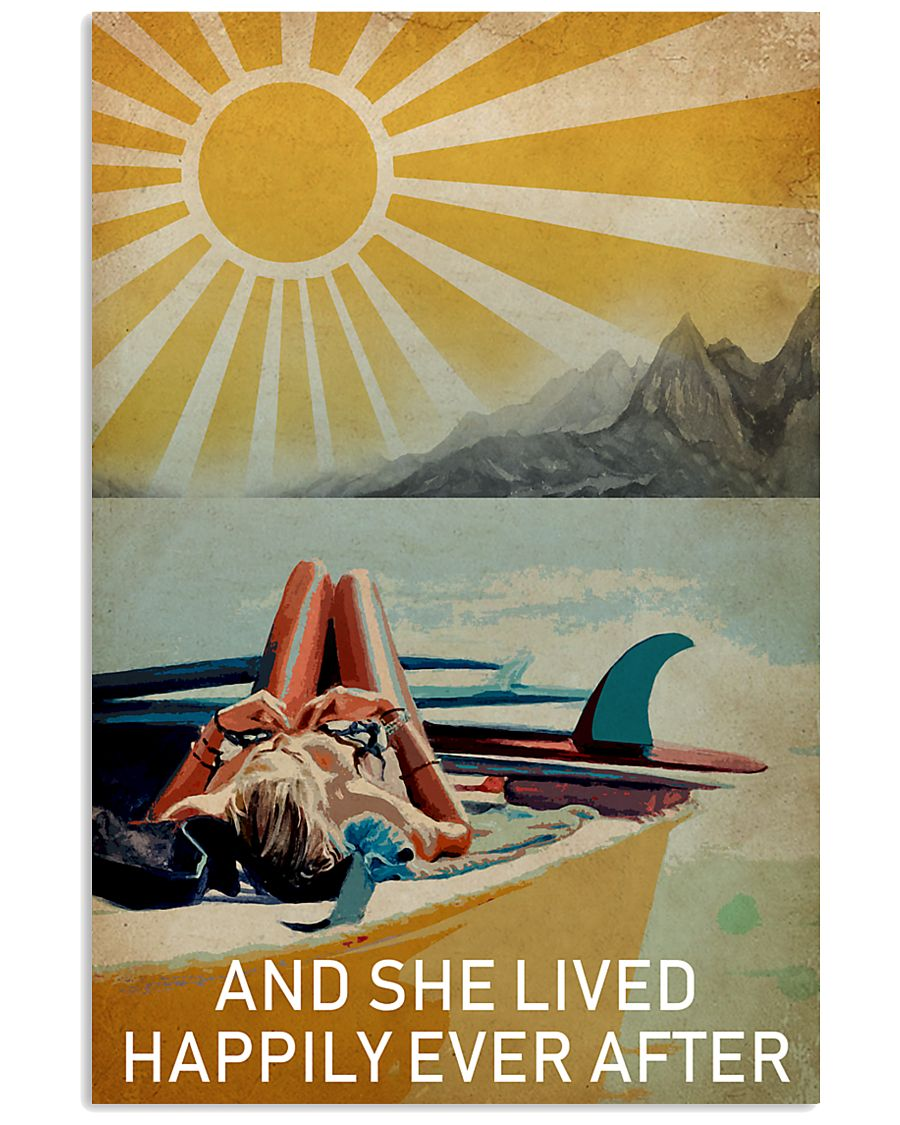 Sun Surfing Girl Lived Happily Full 16x24 Poster