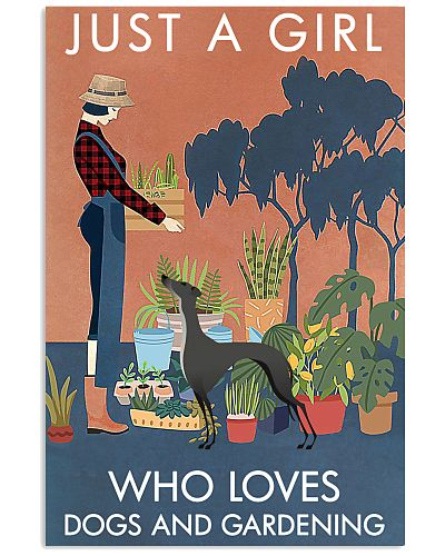 Vintage Girl Loves Gardening And Greyhound