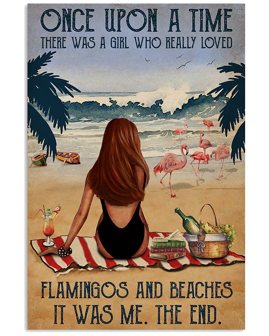 Vintage Beach Once Upon A Time Flamingo Red Girl 16x24 Poster