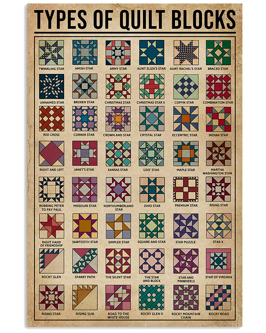 Types Of Quilt Block 11x17 Poster