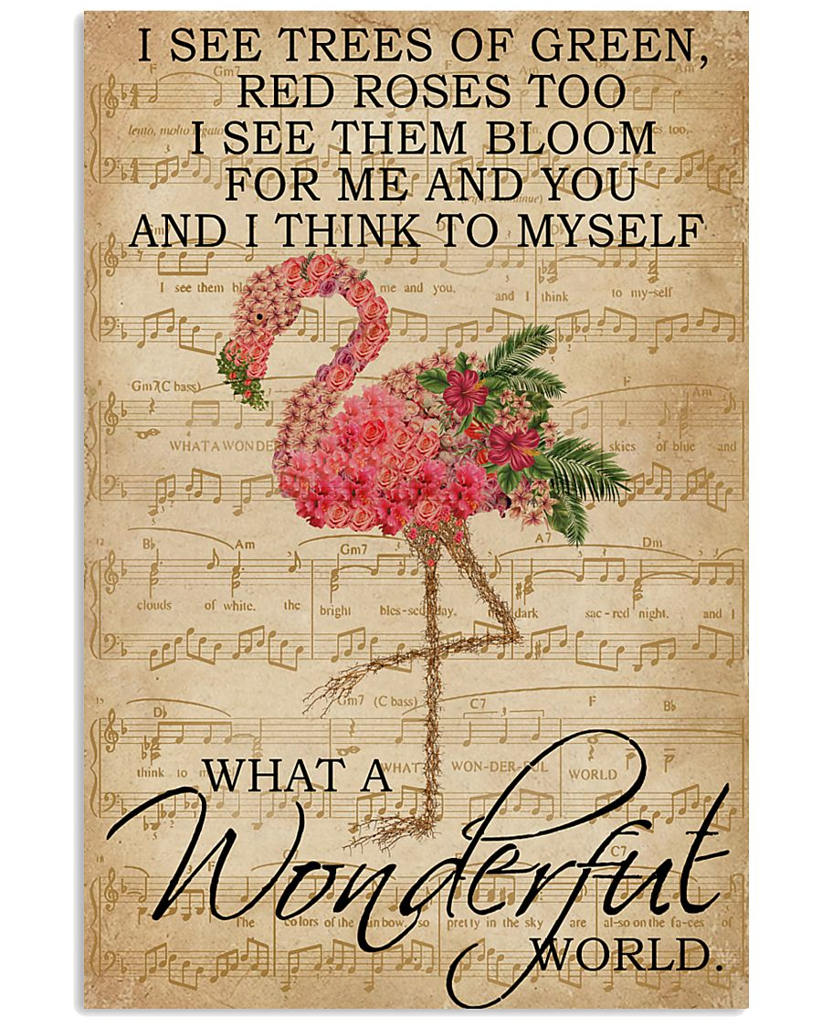 Music Sheet And I Think Flamingo 16x24 Poster