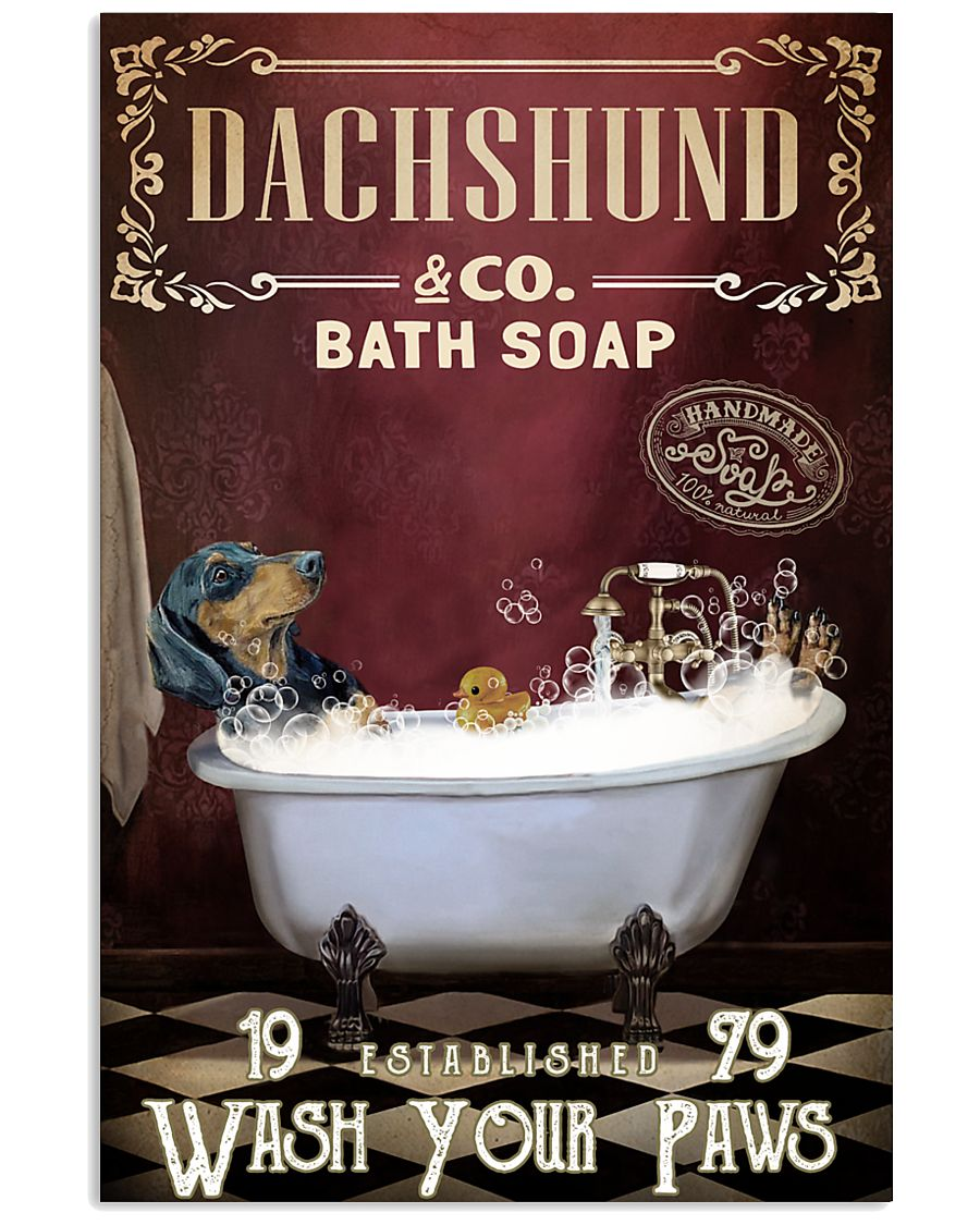 Red Supine Bath Soap Dachshund 11x17 Poster