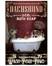 Red Supine Bath Soap Dachshund 11x17 Poster front