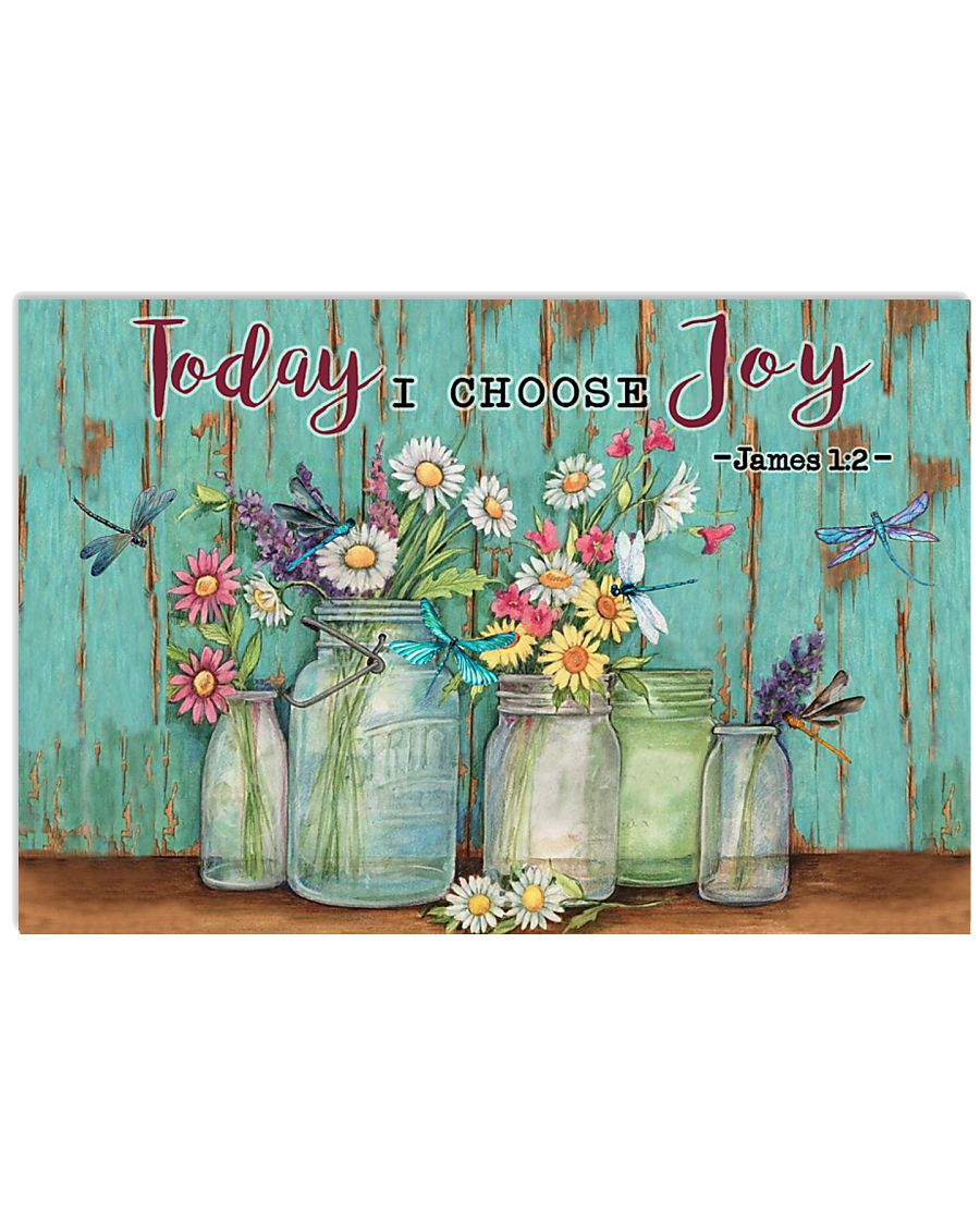 Green Pallet Dragonfly Today I Choose Joy 17x11 Poster