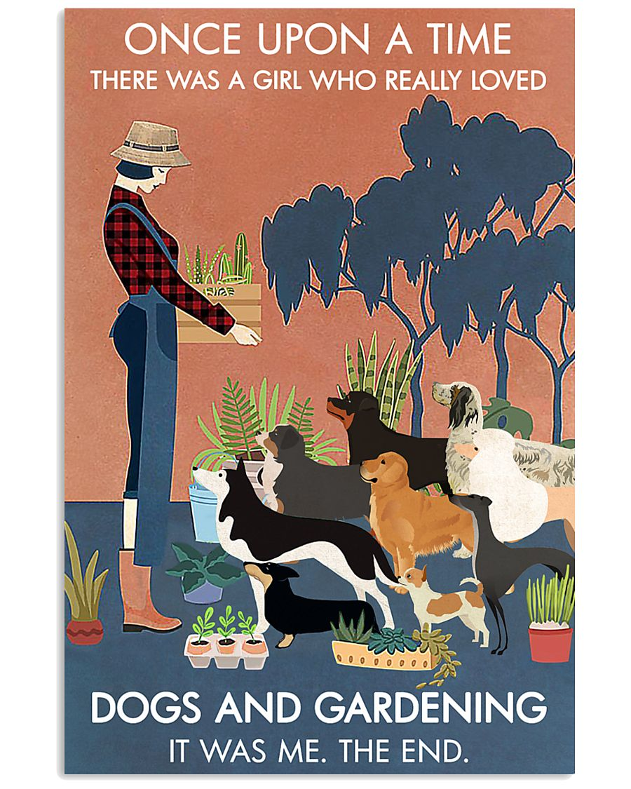Vintage Once Upon A Time Dogs Gardening 11x17 Poster