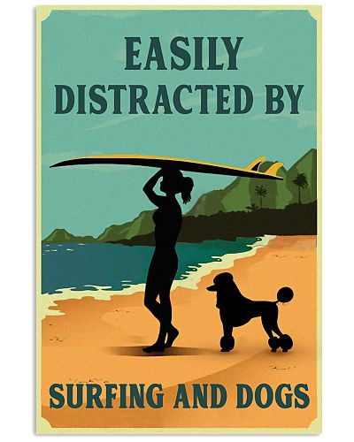 Vintage Easily Distracted Surfing Girl Poodle
