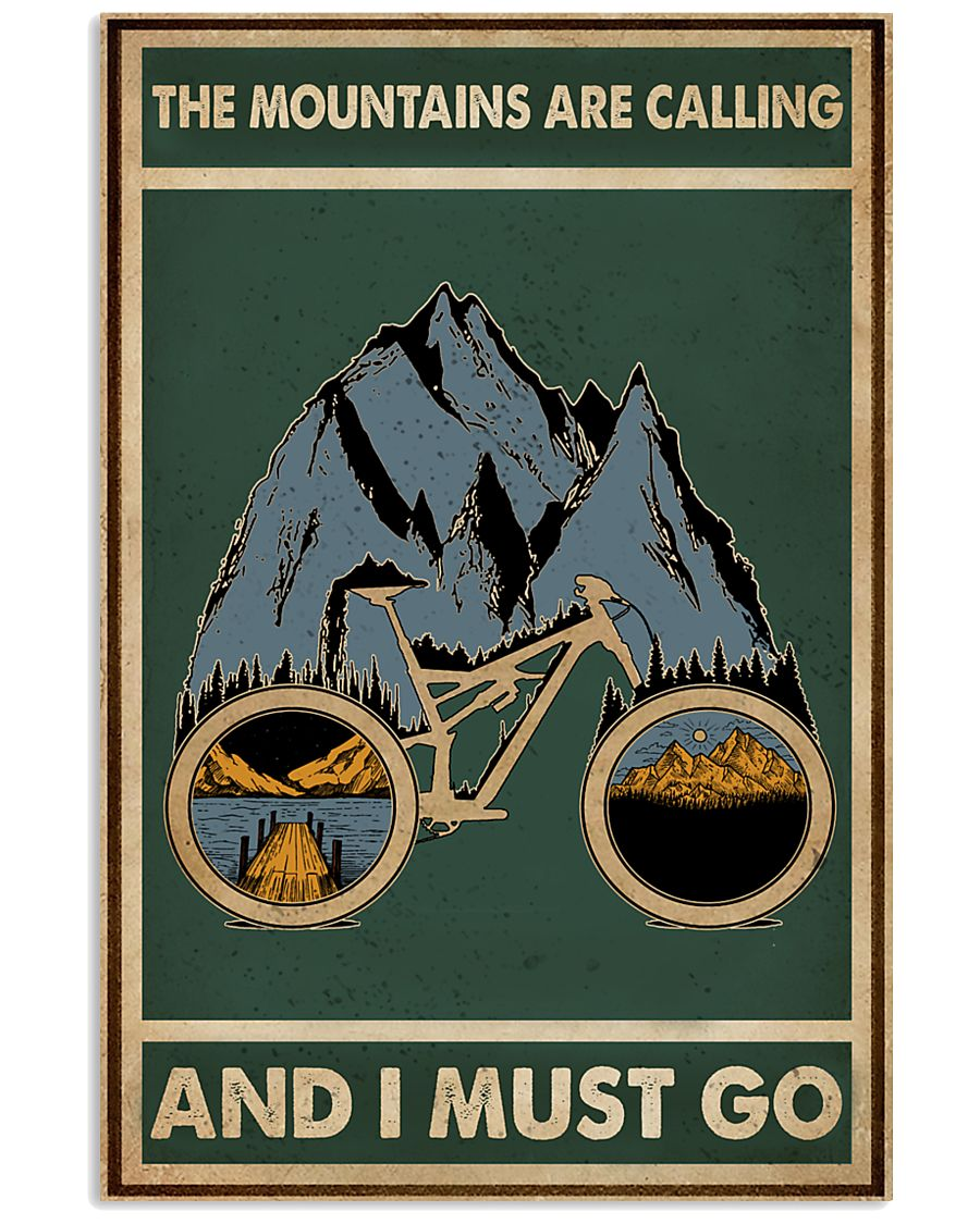Retro Green The Mountains Are Calling Cycling 11x17 Poster