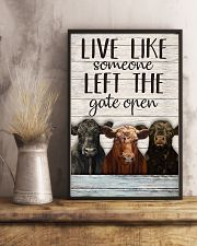 White Pallet Left The Gate Open Angus Cattle 11x17 Poster lifestyle-poster-3