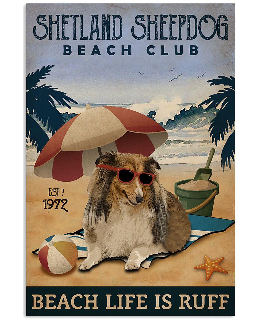 Vintage Beach Club Is Ruff Shetland Sheepdog 11x17 Poster