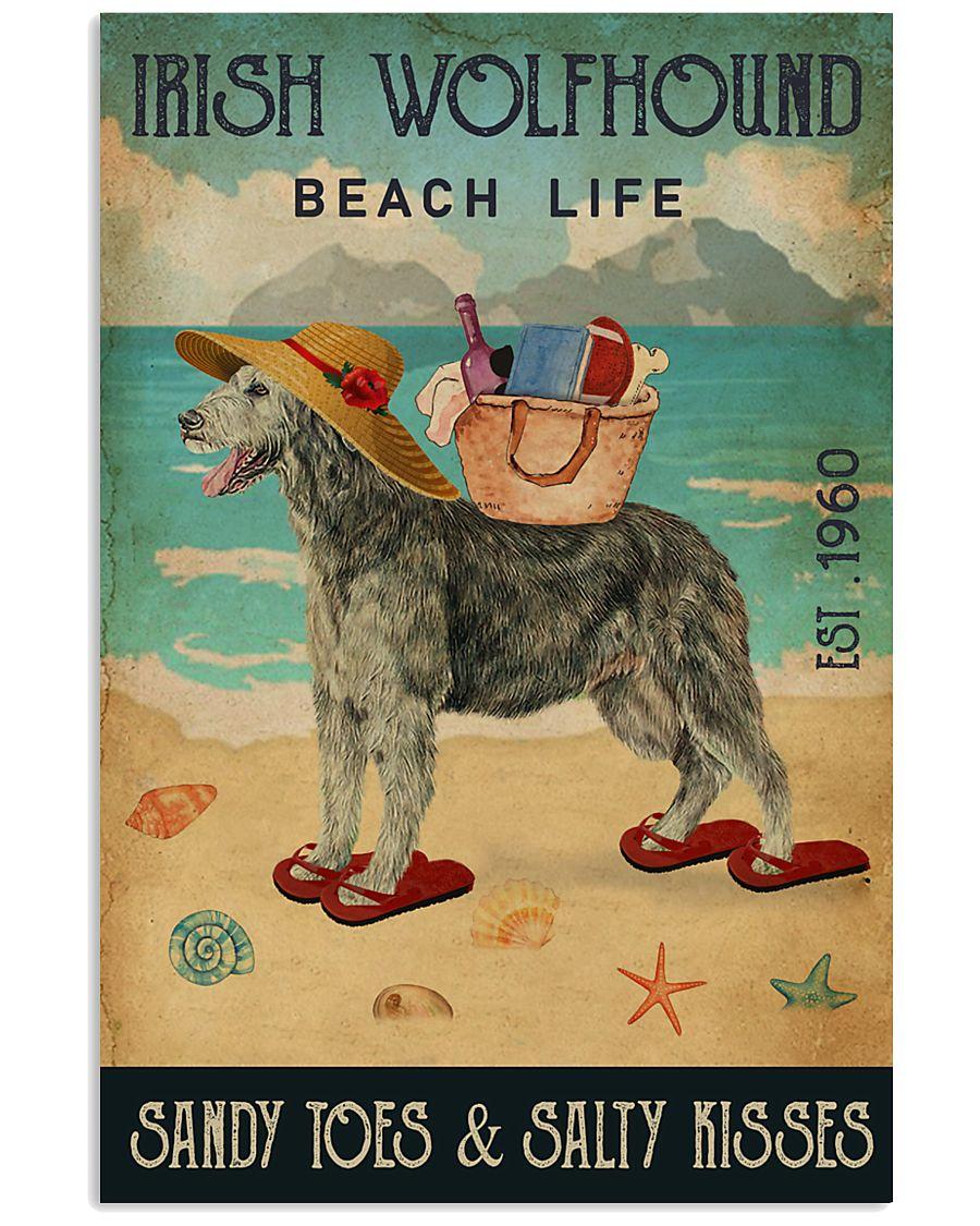 Beach Life Sandy Toes Irish Wolfhound 11x17 Poster