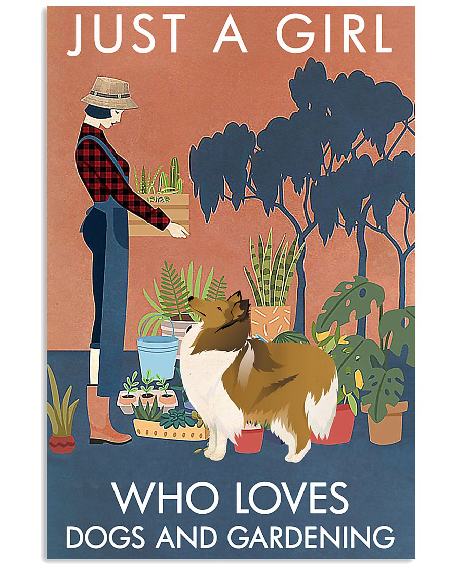 Vintage Just A Girl Loves Gardening And Collie 11x17 Poster