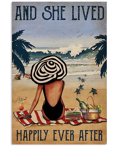 Vintage Beach Lived Happily Sea Turtles Girl