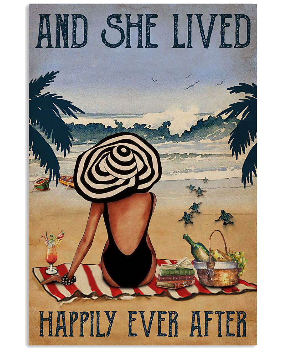 Vintage Beach Lived Happily Sea Turtles Girl 16x24 Poster
