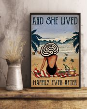 Vintage Beach Lived Happily Sea Turtles Girl 16x24 Poster lifestyle-poster-3