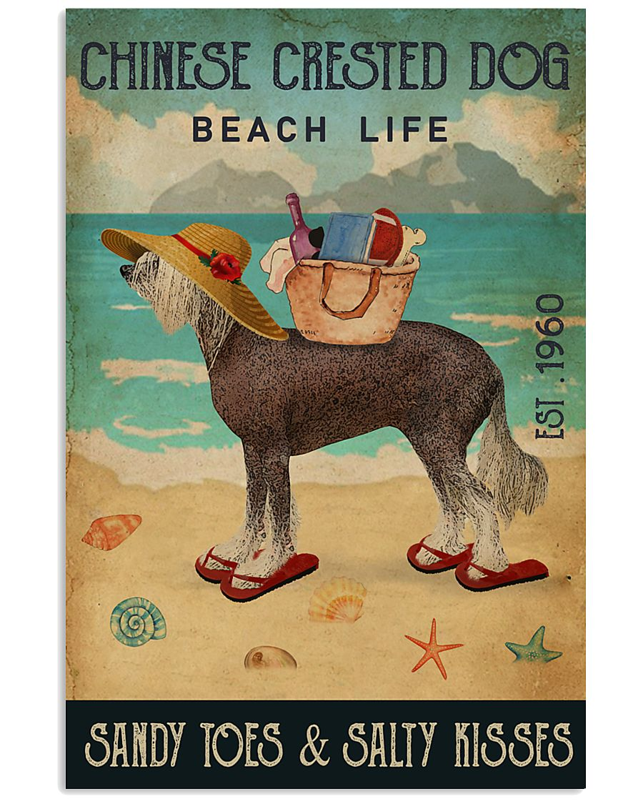 Beach Life Sandy Toes Chinese Crested Dog 11x17 Poster