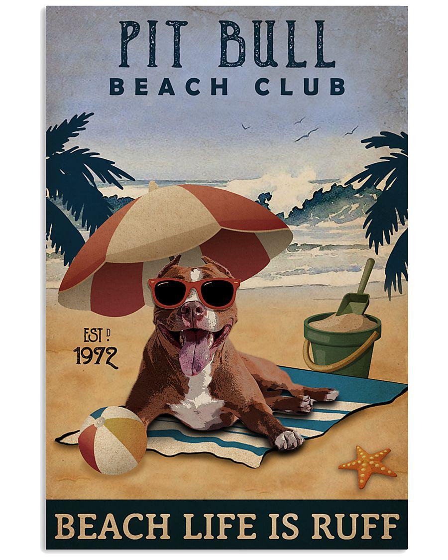 Vintage Beach Club Is Ruff Pit Bull 11x17 Poster