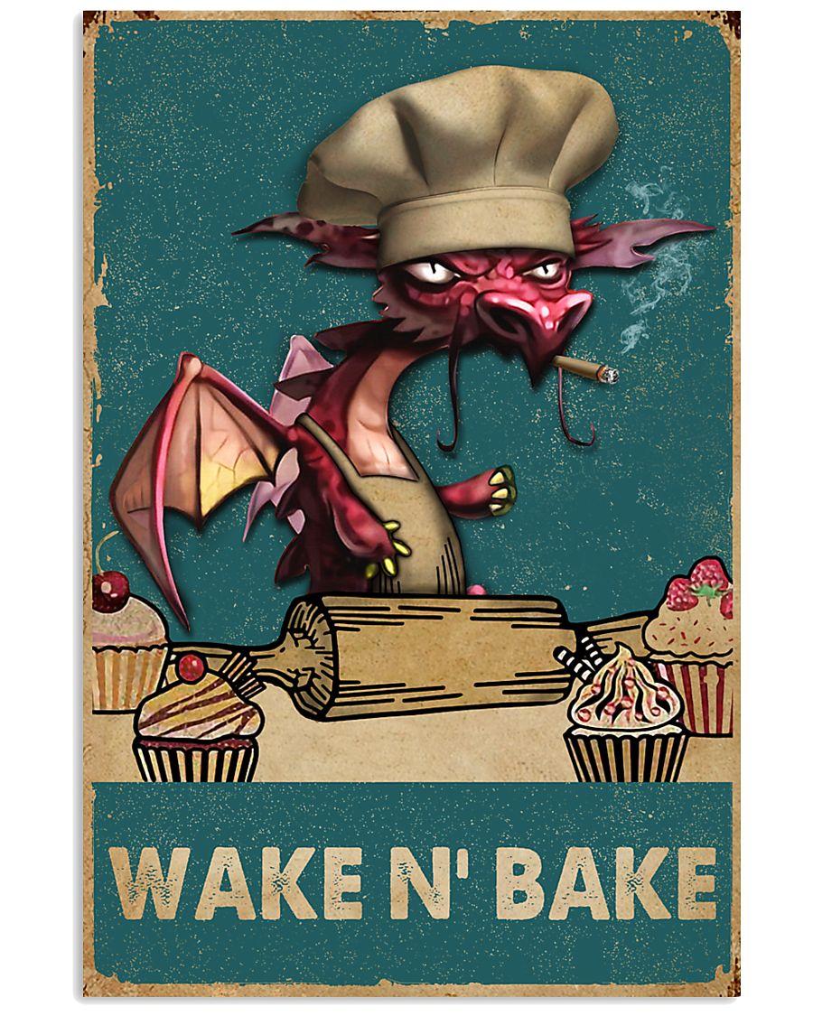 Retro Teal Wake N' Bake Dragon 11x17 Poster