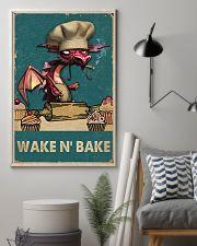 Retro Teal Wake N' Bake Dragon 11x17 Poster lifestyle-poster-1