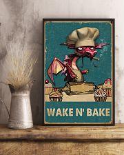 Retro Teal Wake N' Bake Dragon 11x17 Poster lifestyle-poster-3