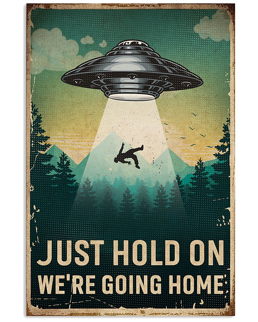 Retro Sky Just Hold On UFO 11x17 Poster