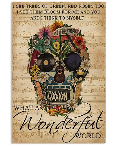Music Sheet Wonderful World Skull Hippie