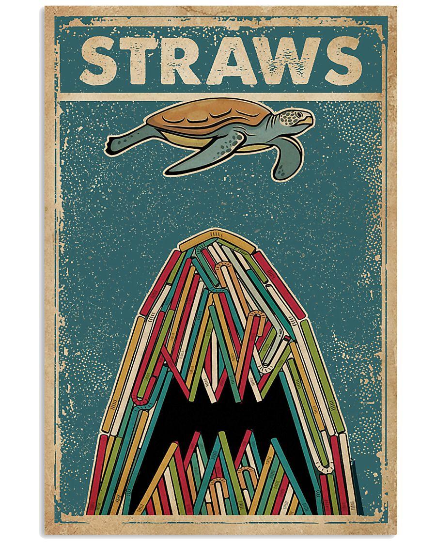 Vintage Straws Shark Sea Turtle 11x17 Poster