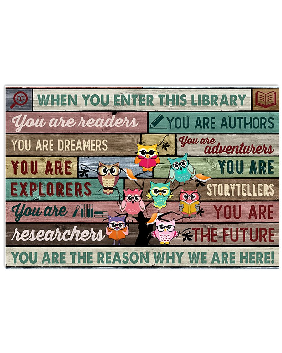 Enter This Library Owl 17x11 Poster