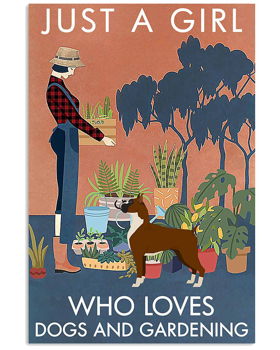 Vintage Just A Girl Loves Gardening And Boxer 11x17 Poster