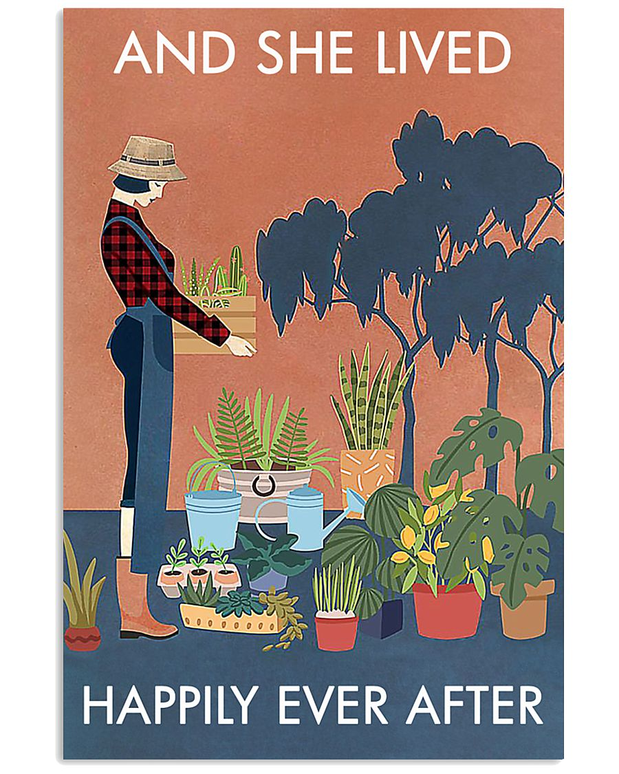 Vintage And She Lived Happily Gardening 16x24 Poster