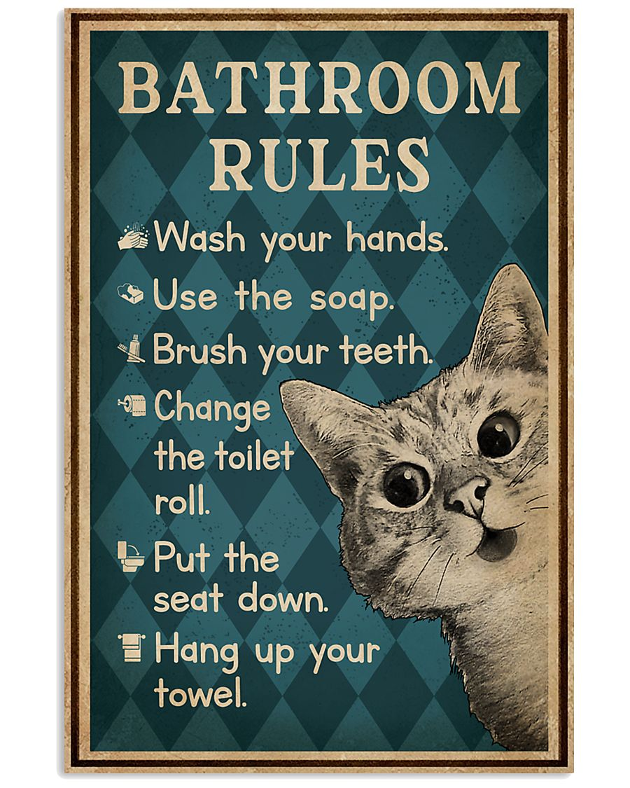 Bathroom Rules Cat 16x24 Poster