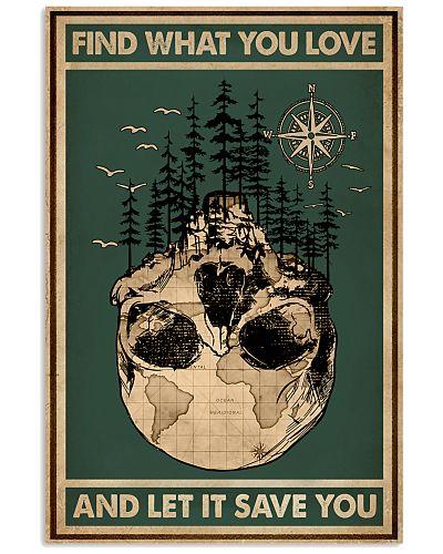 Retro Green Wanderlust Skull