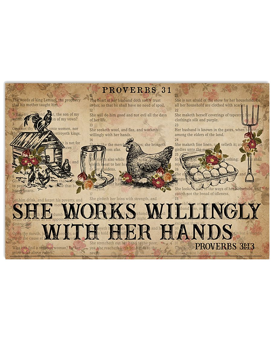 Catchphrase Works Willingly With Hand Chicken 24x16 Poster