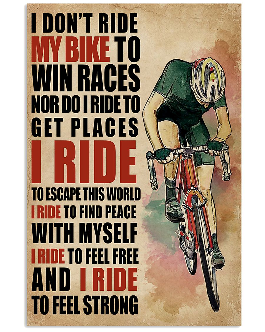 I Ride To Find Peace Cycling 16x24 Poster