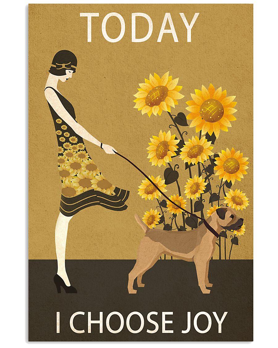 Sunflower Vintage Choose Joy Border Terrier 11x17 Poster