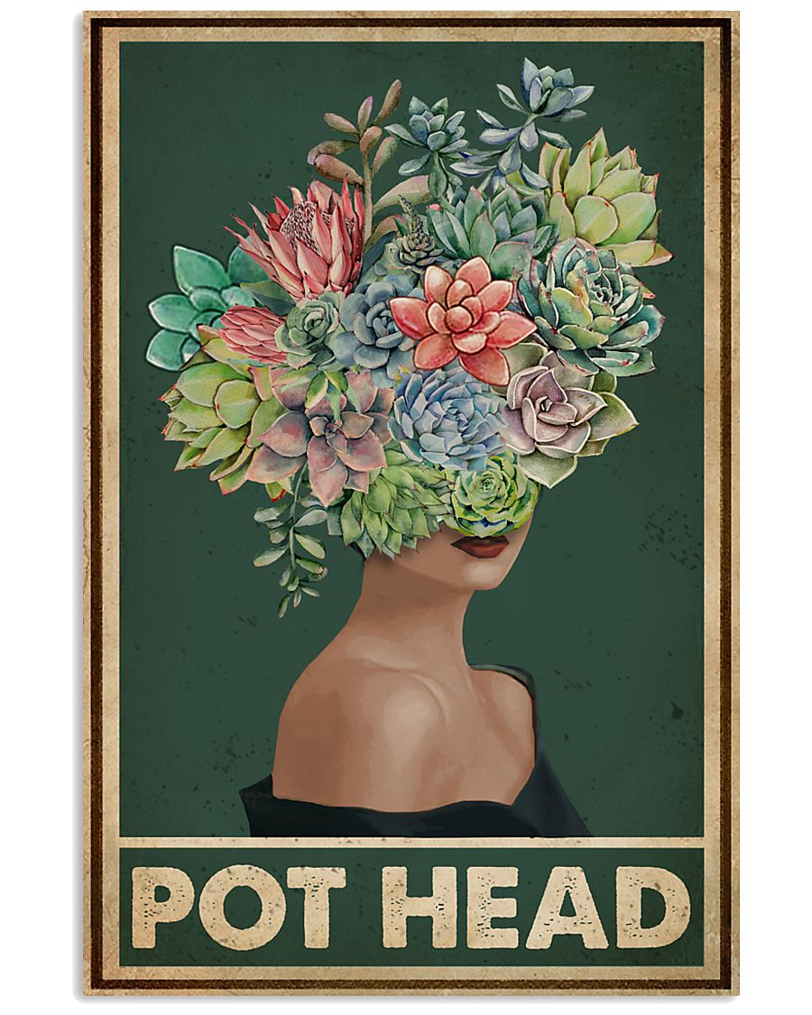 Retro Green Pot Head Succulent 16x24 Poster