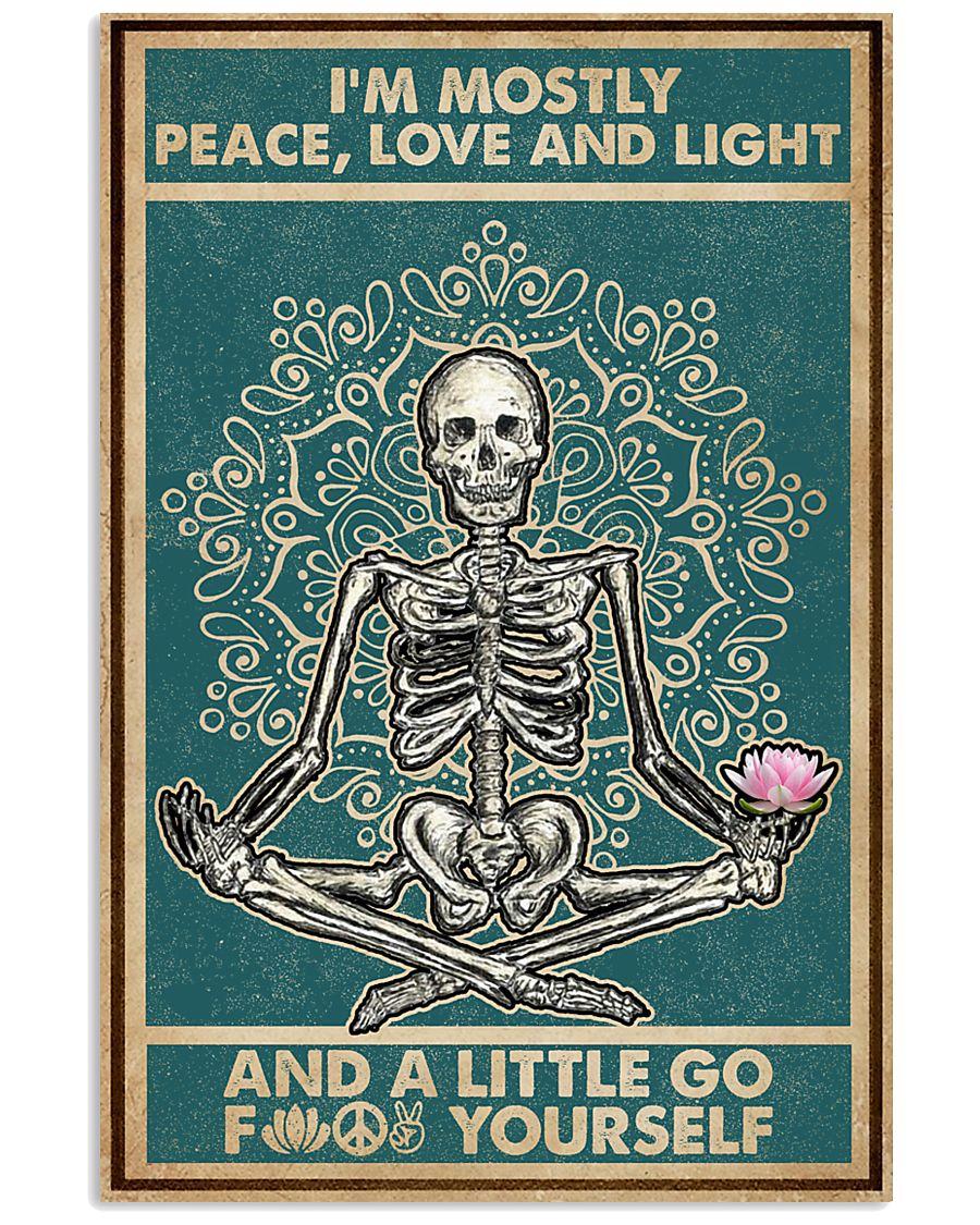 Retro Navy Mostly Peace Skeleton Yoga 16x24 Poster